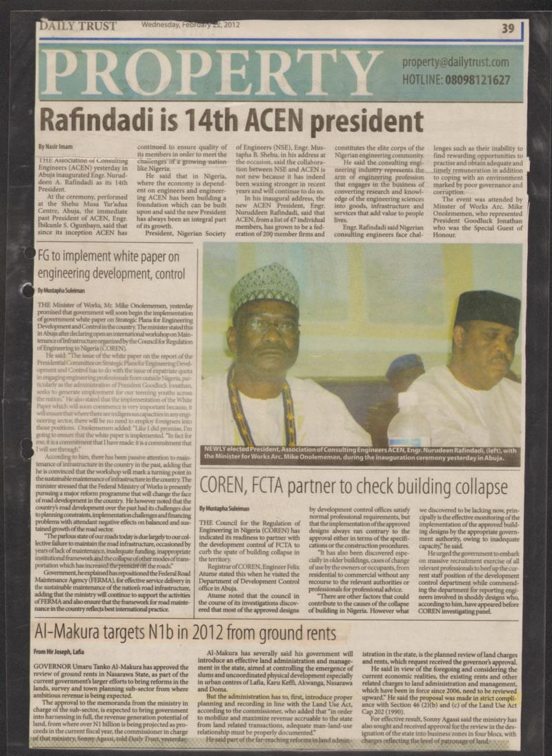 NAGIS - Al-Makura targets N1b in 2012 from ground rents (Daily Trust